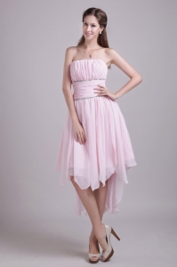 Pink Strapless High-low Chiffon Beading Cocktail Dresses