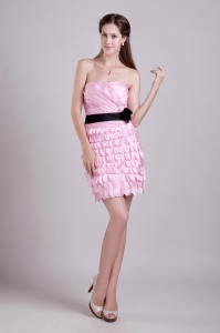 Strapless Mini-length Sash and Ruch Pink Cocktail Dresses