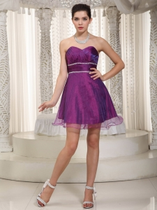 Sweetheart Mini-length Beading Prom Dress Purple