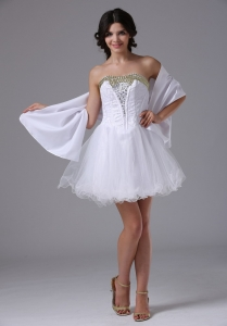 Customize White Mini-length Prom Dress with Beading