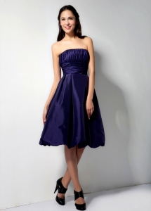 Strapless Purple Knee-length Homecoming Dresses