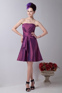 Strapless Knee-length Purple Prom Homecoming Dress