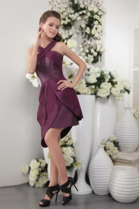 Purple Asymmetrical Short Prom Cocktail Dresses