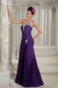 Purple Strapless Appliques Evening Dress