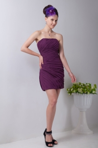 Strapless Mini-length Purple Prom Homecoming Dress
