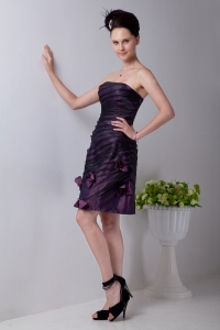 Purple Strapless Hand Made Flowers Prom Homecoming Dress