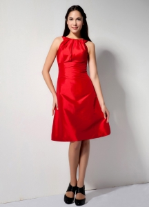 Red A-line Knee-length Taffeta Graduation Cocktail Dress