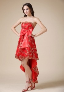 Strapless High-low Lace Bow Red Prom Holiday Dresses