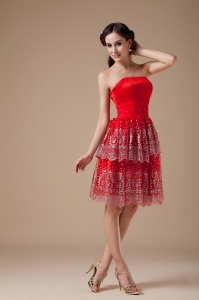Strapless Knee-length Taffeta Beading Prom Dresses Red