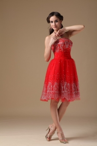 Red A-line Prom Holiday Dresses Strapless Taffeta Organza