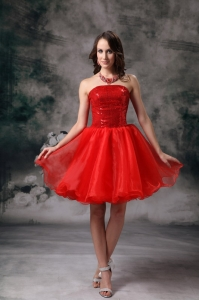 Strapless Mini-length Organza Prom Holiday Dresses Red