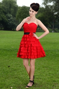 Red Sweetheart Mini-length Hand Made Flower Prom Dress