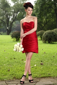 Sweetheart Mini-length Graduation Dresses Red