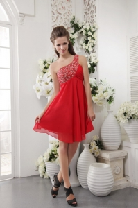 One Shoulder Short Chiffon Red Beaded Cocktail Holiday Dresses