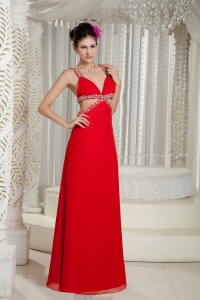 Straps Floor-length Evening Dress Beading Red