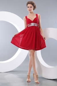 Red Empire Straps Mini-length Chiffon Sequins Cocktail Homecoming Dresses