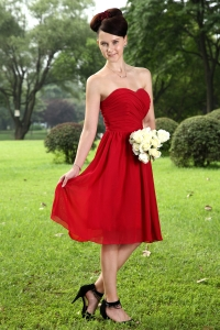 Sweetheart Knee-length Red Prom Homecoming Dress