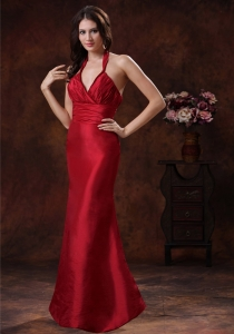 Wine Red Mermaid Halter Prom Evening Dress In Wedding Party