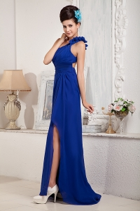 One Shoulder Royal Blue Brush Train Beading Evening Dress