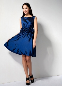 Scoop Royal Blue Knee-length Hand Made Flower Cocktail Dress