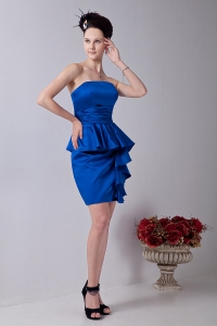 Royal Blue Strapless Mini-length Prom Homecoming Dress