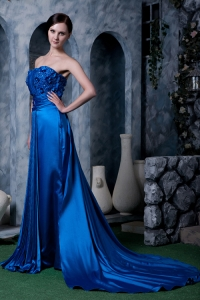 Beaded Royal Blue Watteau Train Strapless Evening Pageant Dress