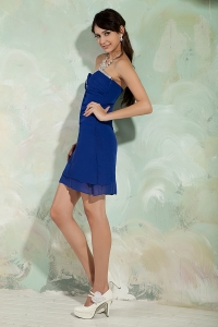 Royal Blue Sweetheart Mini-length Chiffon Cocktail Dresses