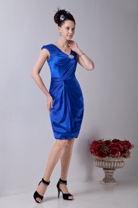 V-neck Knee-length Beading Prom Homecoming Dress Royal Blue