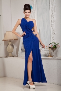 Royal Blue One Shoulder Chiffon Ruch Prom Evening Dress