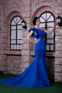 Royal Blue Mermaid One Shoulder Brush Train Prom Dress