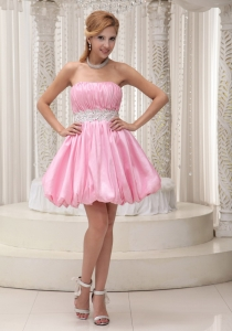 Beading Sash Cocktail Dress Pink Mini-length