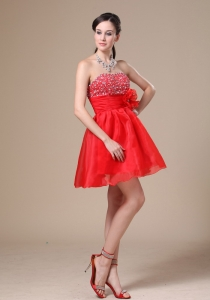 Beaded A-line Homecoming Dress Red Mini-length Flowers