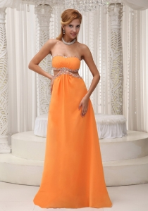 Orange Chiffon Floor-length Pageant Dress with Beading