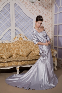 Silver Strapless Court Train Appliques Evening Dress