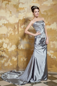 Silver Beading Evening Dress Strapless Court Train