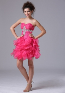 Sweetheart Mini-length Beading Hot Pink Prom Dresses