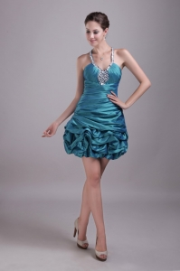 Halter Mini-length Teal Prom Cocktail Dresses