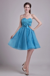 Sweetheart Short Beading and Bow Cocktail Dresses Teal