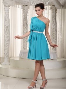 Mini-length Beading Prom Graduation Dress Teal One Shoulder