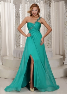 One Shoulder High Slit Celebrity Dress Beading Turquoise