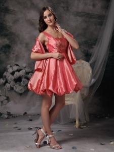 Straps Watermelon A-line Mini-length Prom Homecoming Dress