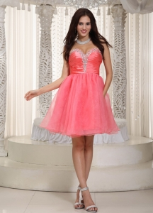 Watermelon Sweetheart Knee-length Prom Holiday Dresses Beading