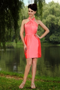 Watermelon Red High-neck Mini-length Homecoming Dress