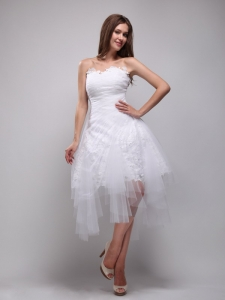 Strapless Knee-length Lace and Tulle Cocktail Dresses White