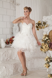 White Prom Dresses Sweetheart Mini-length Organza Beading