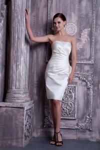 White Column Cocktail Homecoming Dresses Strapless Elastic