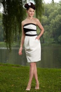 White Strapless Mini-length Beading Prom Homecoming Dress