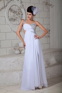 One Shoulder Brush Train Beading Prom Evening Dress White