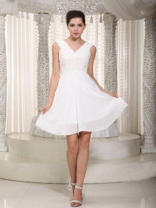 White V-neck Prom Graduation Dress MIni-length