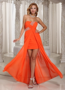 Wholesale High-low Beading Evening Dress Orange Red